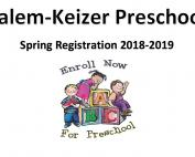 Salem-Keizer Preschool Spring Registration 2018-2019; below Enroll Now, kids on alphabet blocks, For Preschool