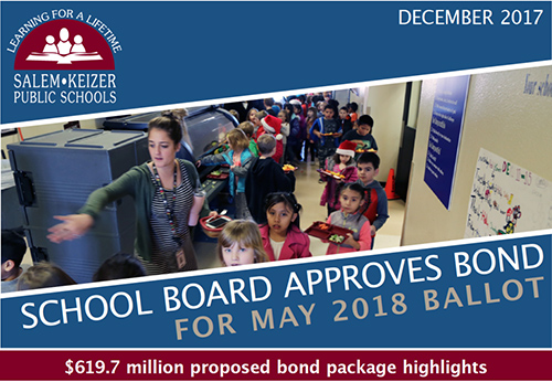 "Photo inside a school cafeteria with the title, ""School Bod approved bond for May 2018 Ballot. $619.7 million proposed bond package highlights."""