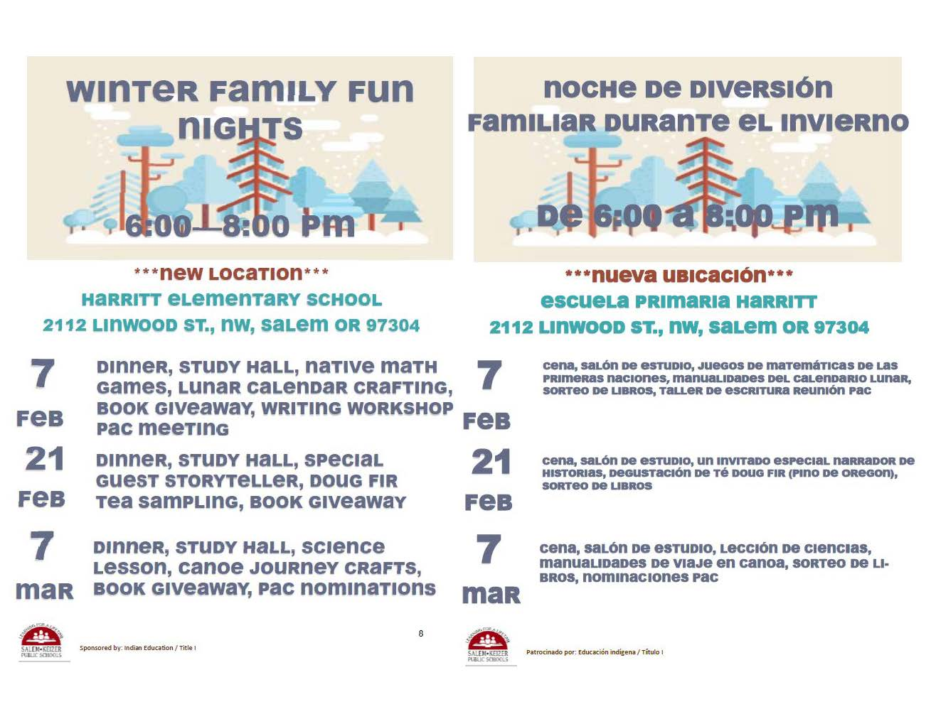 2019 Winter Family Nights/ Noches Familiar de Invierno 2019